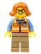 Minifig No: cty0801  Name: Cargo Office Worker - Orange Safety Vest with Reflective Stripes, Dark Tan Legs, Dark Orange Female Hair Short Swept Sideways, Glasses