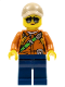 Minifig No: cty0808  Name: City Jungle Explorer Female - Dark Orange Shirt with Green Strap, Dark Blue Legs, Dark Tan Cap with Hole, Sunglasses