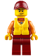 Minifig No: cty0810  Name: Coast Guard City - Lifeguard, Dark Red Cap with Smirk and Life Jacket
