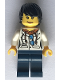 Minifig No: cty0814  Name: City Jungle Scientist Female - White Lab Coat with Sunglasses, Dark Blue Legs, Black Tousled Hair