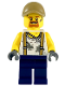 Minifig No: cty0815  Name: City Jungle Engineer - White Shirt with Suspenders and Dirt Stains, Dark Blue Legs, Dark Tan Cap with Hole, Goatee