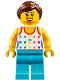 Minifig No: cty0819  Name: Shirt with Female Rainbow Stars Pattern, Medium Azure Legs, Reddish Brown Ponytail Hair, Black Eyebrows