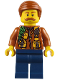 Minifig No: cty0821  Name: City Jungle Explorer - Dark Orange Jacket with Pouches, Dark Blue Legs, Dark Orange Smooth Hair, Moustache