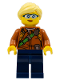 Minifig No: cty0822  Name: City Jungle Explorer Female - Dark Orange Shirt with Green Strap, Dark Blue Legs, Bright Light Yellow Ponytail and Swept Sideways Fringe