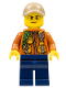 Minifig No: cty0823  Name: City Jungle Explorer - Dark Orange Jacket with Pouches, Dark Blue Legs, Dark Tan Cap with Hole, Sweat Drops