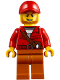 Minifig No: cty0831  Name: Mountain Police - Crook Male with Red Fringed Shirt with Strap and Pouch, Red Cap