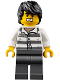 Minifig No: cty0833  Name: Mountain Police - Jail Prisoner 86753 Prison Stripes, Black Tousled Hair