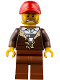 Minifig No: cty0834  Name: Mountain Police - Crook Male with Lined Jacket over Prisoner Shirt, Red Cap