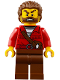 Minifig No: cty0835  Name: Mountain Police - Crook Male with Red Fringed Shirt with Strap and Pouch, Skunk Fighter
