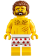Minifig No: cty0850  Name: Mountain Police - Crook Male Bare Chest, White Underwear with Red Pawprints Pattern