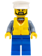 Minifig No: cty0864  Name: Coast Guard City - Ship Captain with White Hat and Life Jacket