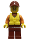 Minifig No: cty0866  Name: Coast Guard City - Rescuer, Dark Red Cap with Big Smile and Life Jacket