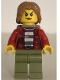 Minifig No: cty0867  Name: Mountain Police - Crook Female Jacket over 87 Prison Stripes, Backpack