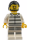Minifig No: cty0871  Name: Mountain Police - Jail Prisoner 50380 Prison Stripes, Black Hair, Beard