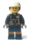 Minifig No: cty0885  Name: Miner - Female Explosives Engineer with Dual Sided Head