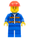 Minifig No: cty0889  Name: Blue Jacket with Diagonal Lower Pockets and Orange Stripes, Blue Legs, Red Construction Helmet