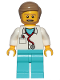 Minifig No: cty0898  Name: Doctor - Stethoscope, Medium Azure Legs, Dark Tan Smooth Hair, Beard