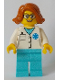 Minifig No: cty0900  Name: Doctor - EMT Star of Life, Medium Azure Legs, Dark Orange Female Hair Short Swept Sideways, Glasses