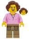 Minifig No: cty0910  Name: Hiker, Female Parent, Pink Shirt, Dark Tan Legs