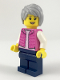 Minifig No: cty0912  Name: Camper, Female, Dark Pink Jacket, Dark Blue Legs, Light Bluish Gray Female Hair Short Tousled