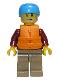 Minifig No: cty0913  Name: Rafter, Male Parent, Dark Azure Sports Helmet, Orange 2 Strap Life Jacket
