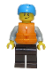 Minifig No: cty0914  Name: Rafter, Adult Son, Dark Azure Sports Helmet, Orange 2 Strap Life Jacket