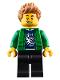 Minifig No: cty0920  Name: Hiker, Male, Green Jacket over Raccoon Shirt, Black Legs, Medium Dark Flesh Spiked Hair