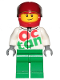 Minifig No: cty0922  Name: Race Car Driver, White Octan Race Suit with Silver Zipper, Red Helmet with Trans-Black Visor, Lopsided Smile