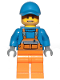 Minifig No: cty0945  Name: Overalls with Safety Stripe Orange, Orange Legs, Blue Short Bill Cap, Dark Tan Angular Beard