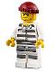 Minifig No: cty0954  Name: Sky Police - Jail Prisoner 50380 Prison Stripes, Stubble, Dark Red Knit Cap