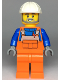 Minifig No: cty0971  Name: Construction Worker, Orange Overalls over Blue Shirt, White Construction Helmet, Open Mouth with Beard