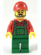 Minifig No: cty0984  Name: Farmer - Red Cap and Flannel Shirt, Dark Bluish Gray Beard, Green Overalls