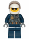 Minifig No: cty1001  Name: Police - City Pilot, Jacket with Dark Bluish Gray Vest, Dark Blue Legs, White Helmet, Sunglasses