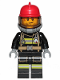 Minifig No: cty1004  Name: Fire - Reflective Stripes, Stubble Beard, Red Helmet, Breathing Neck Gear with Blue Airtanks