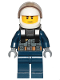 Minifig No: cty1007  Name: Police - City Pilot, Jacket with Dark Bluish Gray Vest, Dark Blue Legs, White Helmet, Scowl with Neck Bracket (for Jet Pack)