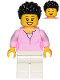 Minifig No: cty1018  Name: Mom - Bright Pink Female Top, White Legs, Black Hair Coiled and Short