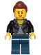 Minifig No: cty1022  Name: Teenage Girl, Black Jacket and White Shirt with Black Stripes, Dark Blue Legs, Reddish Brown Hair Female Ponytail and Fringe