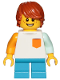 Minifig No: cty1023  Name: Boy, Freckles, White Shirt with Orange Pocket, Dark Azure Short Legs, Dark Orange Hair Tousled with Side Part