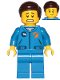 Minifig No: cty1041  Name: Astronaut - Male, Blue Jumpsuit, Dark Brown Hair Short Combed Sideways Part Left, Scared and Lopsided Smile
