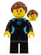 Minifig No: cty1051  Name: Surfer - Female, Black Wetsuit with Medium Azure Trim, Reddish Brown Hair