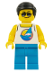 Minifig No: cty1054  Name: Beach Tourist - Male, White Tank Top with Dark Azure Sailboat, Dark Azure Legs, Black Hair