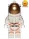 Minifig No: cty1055  Name: Astronaut - Male, White Spacesuit with Orange Lines, Smirk, Cheek Lines, Black and Dark Tan Eyebrows