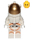 Minifig No: cty1055a  Name: Astronaut - Male, White Spacesuit with Orange Lines, Smirk, Cheek Lines, Black Eyebrows