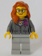 Minifig No: cty1058  Name: Scientist - Female, Dark Bluish Gray Jacket with Magenta Scarf, Dark Orange Female Hair over Shoulder, Glasses