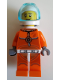 Minifig No: cty1061  Name: Astronaut - Male, Orange Spacesuit with Dark Bluish Gray Lines, Trans Light Blue Large Visor, Stubble, Moustache and Sideburns
