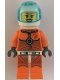 Minifig No: cty1065  Name: Astronaut - Female, Orange Spacesuit with Dark Bluish Gray Lines, Trans Light Blue Large Visor, Open Mouth Smile