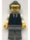 Minifig No: cty1070  Name: Launch Director - Male, Black Vest with Blue Striped Tie, Dark Bluish Gray Short Swept Back with Sideburns Hair, Glasses and Moustache