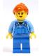 Minifig No: cty1072  Name: Mechanic Female, Medium Blue Shirt and Blue Overalls, Dark Orange Ponytail