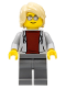 Minifig No: cty1073  Name: Sports Car Driver, Light Bluish Gray Hoodie with Dark Red Shirt, Tan Hair Swept Back Tousled
