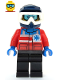 Minifig No: cty1079  Name: Ski Patrol Member - Female, Dark Blue Helmet